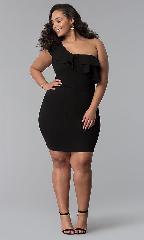 Image of one-shoulder black short plus-size party dress. Style: SY-IXD-5570VP Detail Image 2