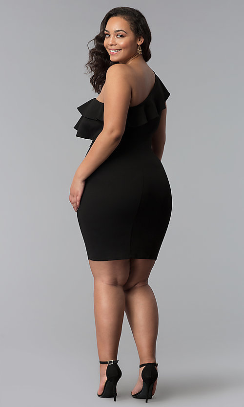 Image of one-shoulder black short plus-size party dress. Style: SY-IXD-5570VP Detail Image 3