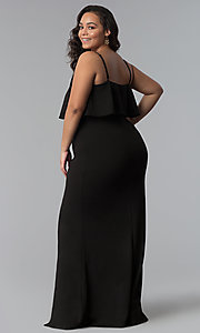 Image of long plus-size wedding guest dress with flounce. Style: SY-IXD-5476VP Detail Image 3