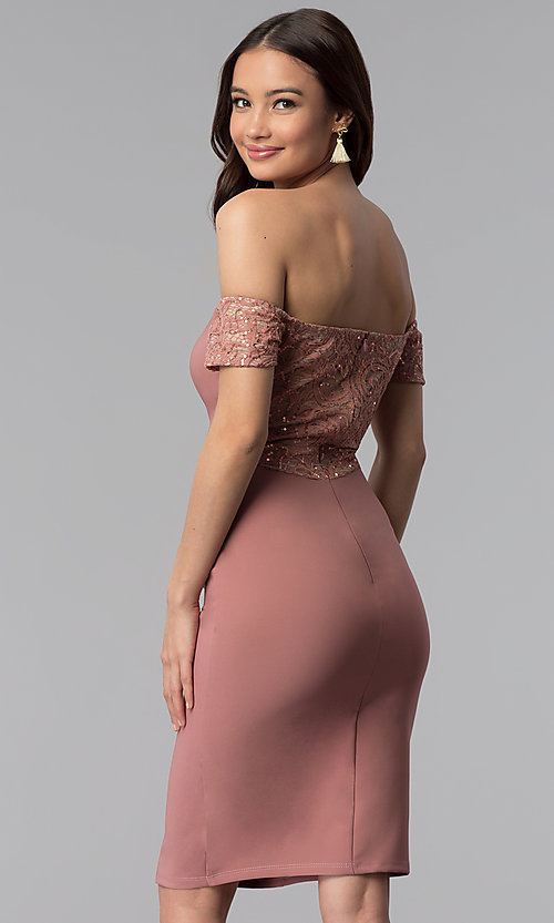 Image of off-the-shoulder graduation dress with lace sleeves. Style: MB-7259 Back Image