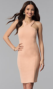 Image of knee-length high-neck dusty pink graduation dress. Style: MB-7253 Front Image