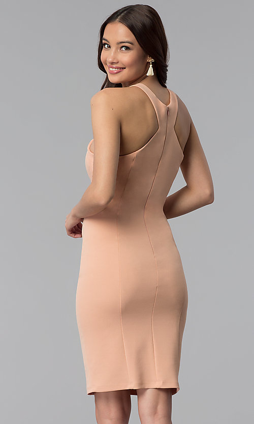 Image of knee-length high-neck dusty pink graduation dress. Style: MB-7253 Back Image