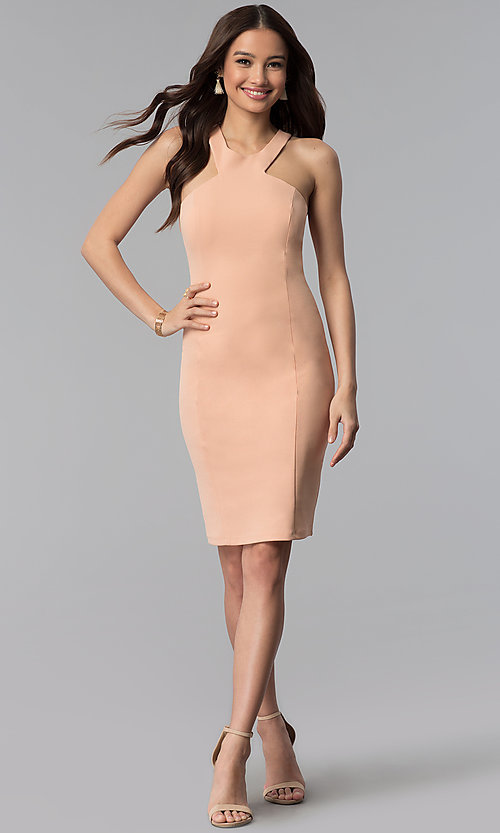 Image of knee-length high-neck dusty pink graduation dress. Style: MB-7253 Detail Image 3