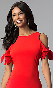 Image of short cold-shoulder red party dress. Style: AS-A65964A24 Detail Image 1