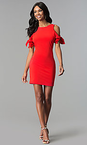 Image of short cold-shoulder red party dress. Style: AS-A65964A24 Detail Image 3