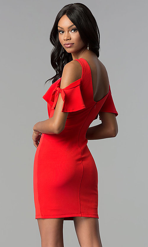 Image of short cold-shoulder red party dress. Style: AS-A65964A24 Back Image