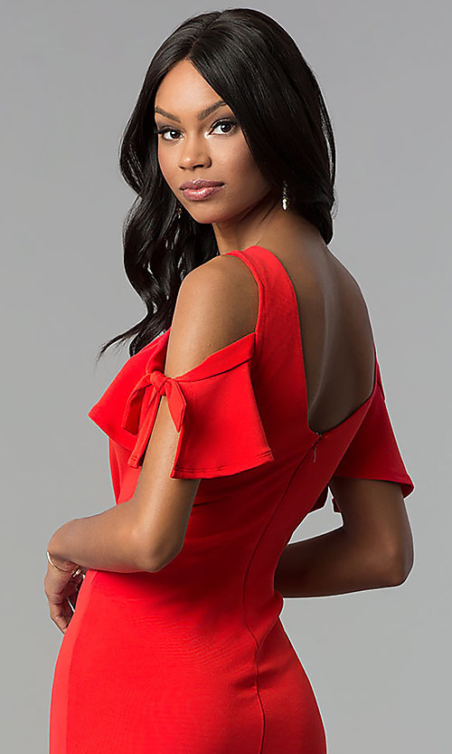 Image of short cold-shoulder red party dress. Style: AS-A65964A24 Detail Image 2