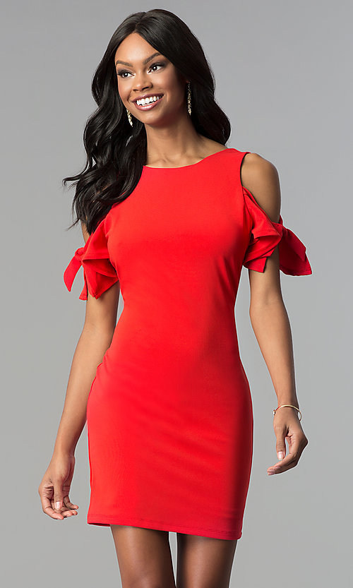 Image of short cold-shoulder red party dress. Style: AS-A65964A24 Front Image