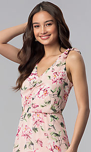 Image of short high-low floral-print party dress. Style: AS-A886495E58 Detail Image 1