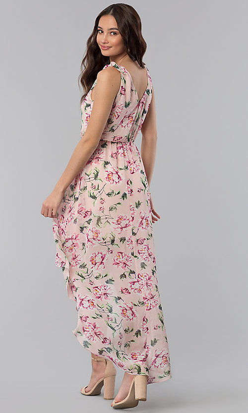 Image of short high-low floral-print party dress. Style: AS-A886495E58 Back Image