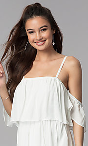 Image of short white casual embroidered-hem dress. Style: AS-A4967-1G11 Detail Image 1