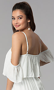 Image of short white casual embroidered-hem dress. Style: AS-A4967-1G11 Detail Image 2