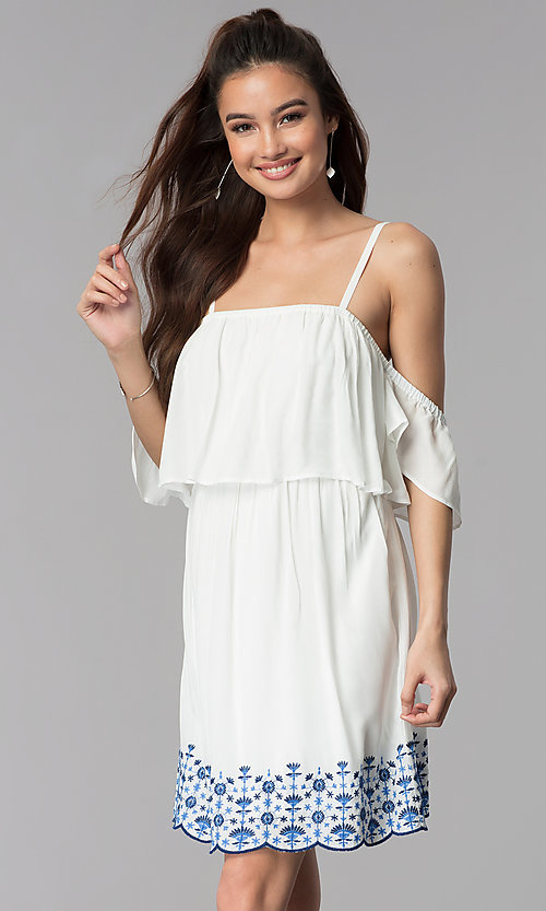 Image of short white casual embroidered-hem dress. Style: AS-A4967-1G11 Front Image