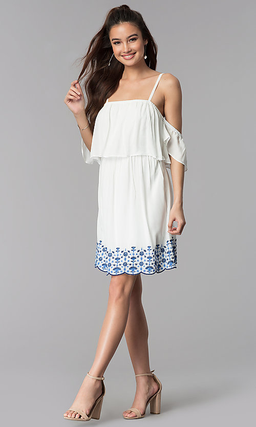 Image of short white casual embroidered-hem dress. Style: AS-A4967-1G11 Detail Image 3