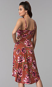 Image of floral-print high-low casual dress. Style: AS-A8849D10A58 Back Image