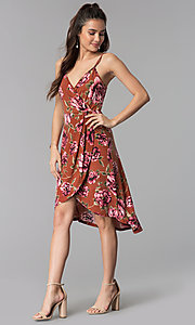 Image of floral-print high-low casual dress. Style: AS-A8849D10A58 Detail Image 3