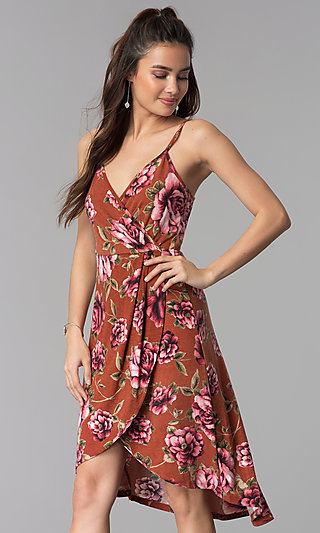 Floral-Print High-Low Casual Dress