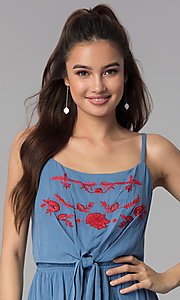 Image of short embroidered-bodice casual denim dress. Style: AS-A8979D1G63 Detail Image 1