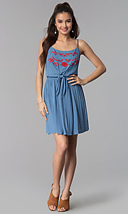 Image of short embroidered-bodice casual denim dress. Style: AS-A8979D1G63 Detail Image 3
