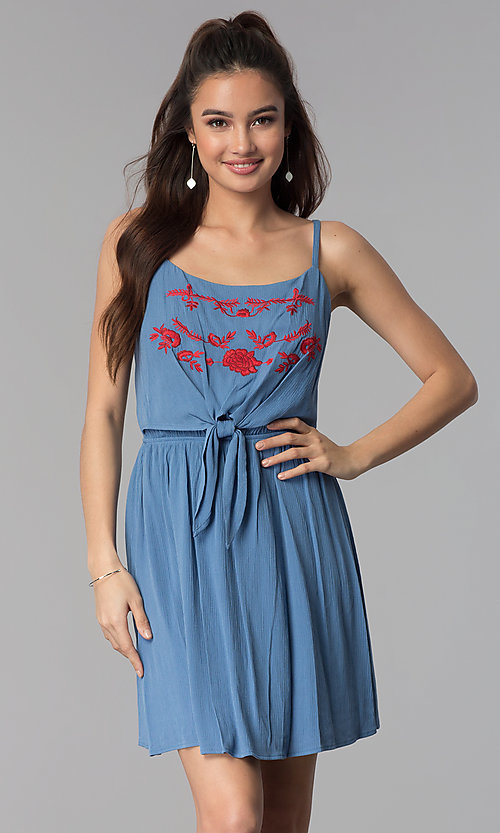 Image of short embroidered-bodice casual denim dress. Style: AS-A8979D1G63 Front Image