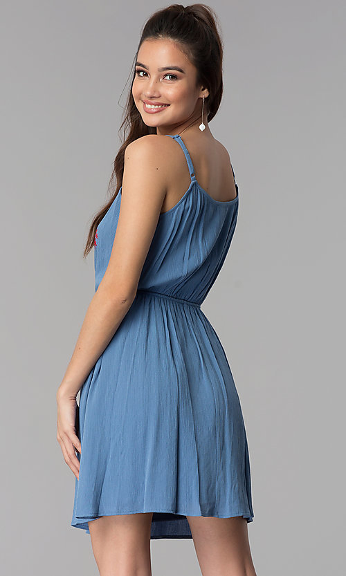 Image of short embroidered-bodice casual denim dress. Style: AS-A8979D1G63 Back Image