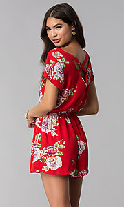 Image of short print red romper with a button-up front. Style: AS-A883577G48 Back Image