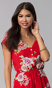 Image of short print red romper with a button-up front. Style: AS-A883577G48 Detail Image 1