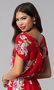 Image of short print red romper with a button-up front. Style: AS-A883577G48 Detail Image 2