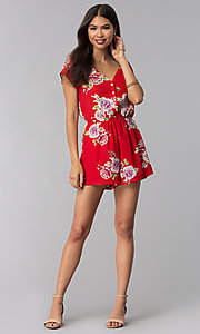 Image of short print red romper with a button-up front. Style: AS-A883577G48 Detail Image 3