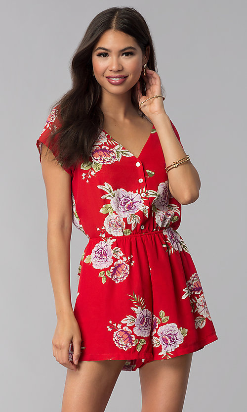 Image of short print red romper with a button-up front. Style: AS-A883577G48 Front Image