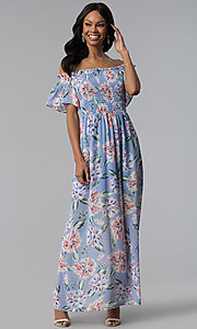 Long Print Blue Casual Dress with Removable Straps