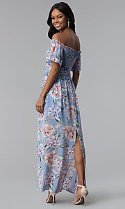 Image of long print blue casual dress with removable straps. Style: AS-A903495E59 Back Image