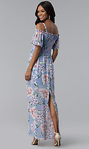 Image of long print blue casual dress with removable straps. Style: AS-A903495E59 Detail Image 3