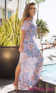 Image of long print blue casual dress with removable straps. Style: AS-A903495E59 Front Image