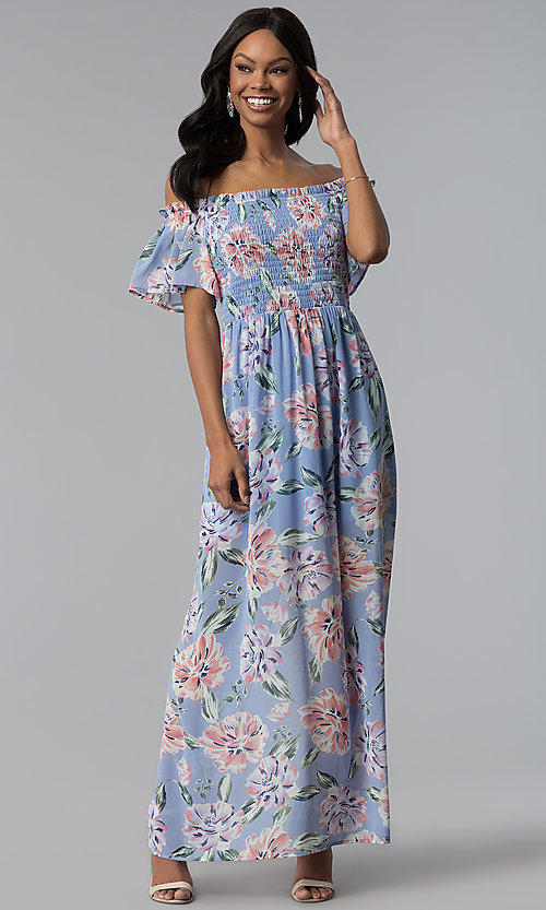 Image of long print blue casual dress with removable straps. Style: AS-A903495E59 Detail Image 1