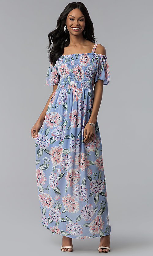 Image of long print blue casual dress with removable straps. Style: AS-A903495E59 Detail Image 2