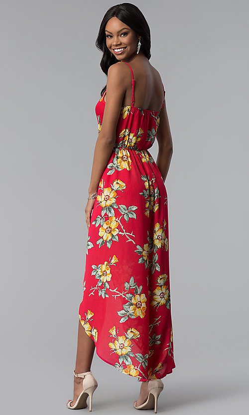Image of floral-print romper with high-low cape skirt. Style: AS-A874079E67 Back Image
