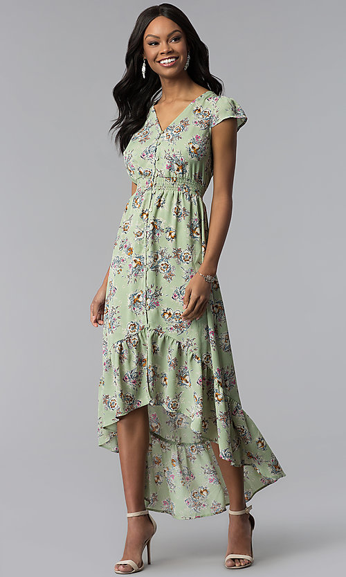Image of high-low green floral-print wedding-guest dress. Style: AS-A8465d79E69 Front Image