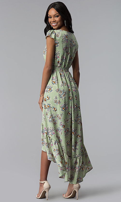 Image of high-low green floral-print wedding-guest dress. Style: AS-A8465d79E69 Back Image