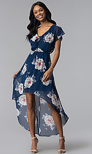 Image of navy blue floral-print high-low casual dress. Style: AS-A877395e34 Detail Image 1