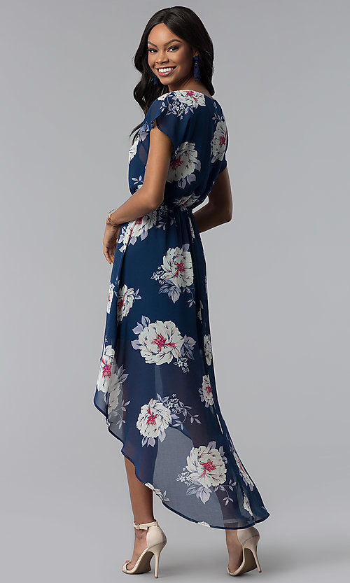 Image of navy blue floral-print high-low casual dress. Style: AS-A877395e34 Back Image