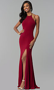 High-Neck Long Open Back Prom Dress