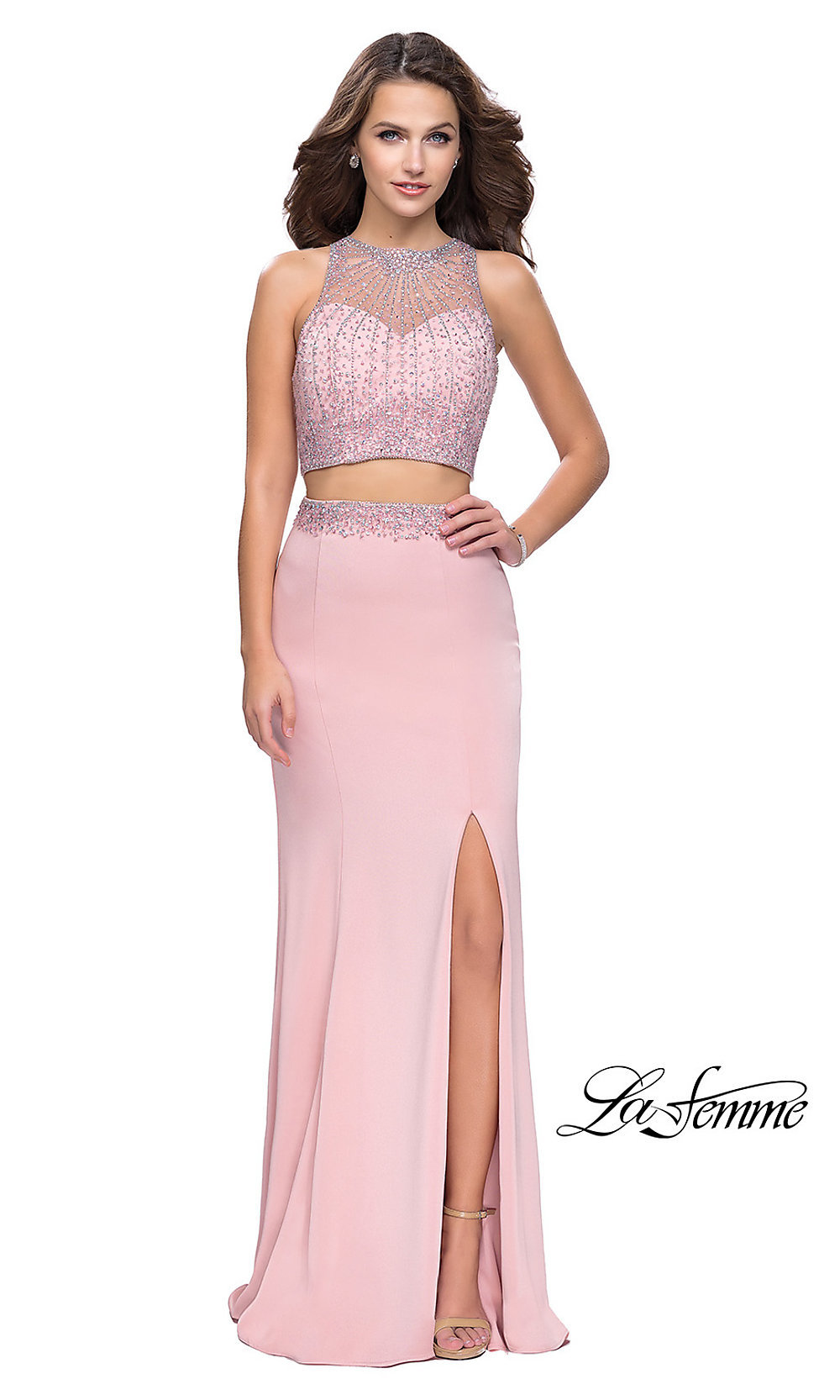 53136d1299b Long Two-Piece La Femme Prom Dress with Illusion