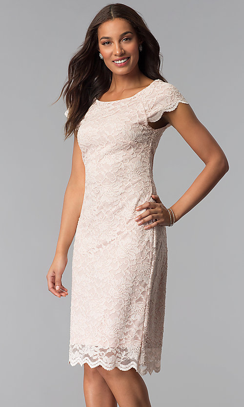 Image of short glitter-lace sheath blush pink cocktail dress. Style  JU- 2ededf86f