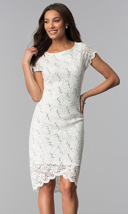 Image of lace ivory graduation dress with short sleeves. Style: JU-ON-650031 Front Image