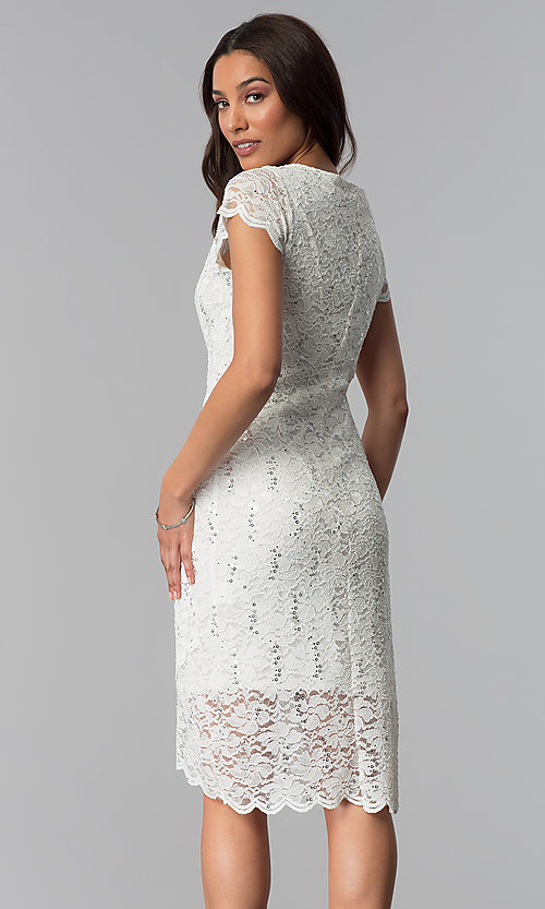 Image of lace ivory graduation dress with short sleeves. Style: JU-ON-650031 Back Image