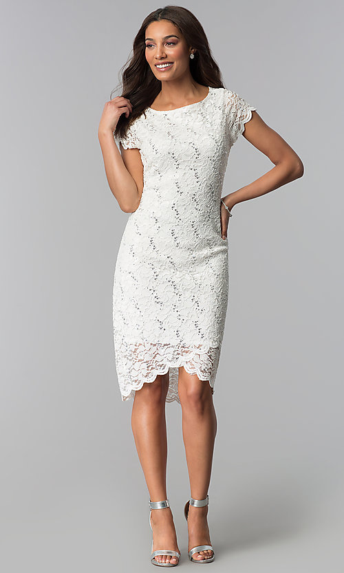 Image of lace ivory graduation dress with short sleeves. Style: JU-ON-650031 Detail Image 1
