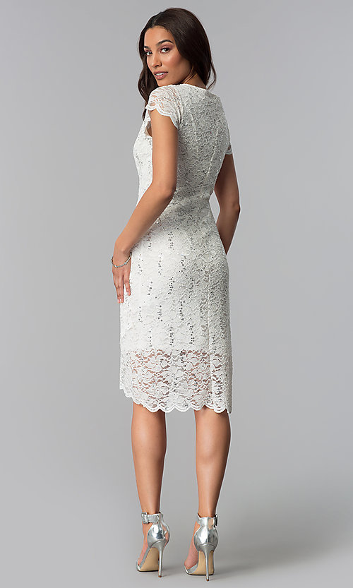 Image of lace ivory graduation dress with short sleeves. Style: JU-ON-650031 Detail Image 2