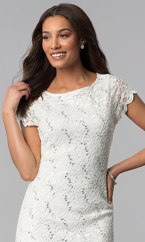 Image of lace ivory graduation dress with short sleeves. Style: JU-ON-650031 Detail Image 3