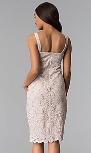 Image of sequin-lace knee-length mother-of-the-bride dress. Style: JU-ON-649598 Back Image